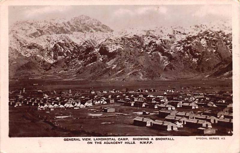 Pakistan Old Vintage Antique Post Card Landikotal Camp Showing a Snowfall Wri...