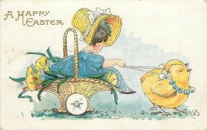 Easter~Fat Yellow Chicks Pull Victorian Girl Flower Basket~Bertha E Blodget~AMP