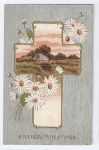 Embossed Silver Easter Postcard Cross Cottage Daisies 1917