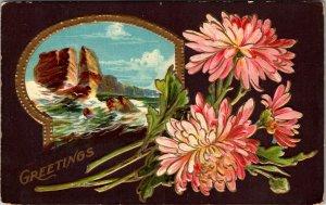 GREETINGS FLOWER - Portrait - EMBOSSED TOPICAL - Vintage - POSTCARD