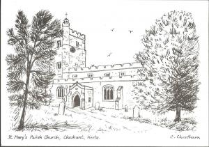 Postcard St Mary's Church CHESHUNT Hertfordshire Sketch Drawing by C Cheetham