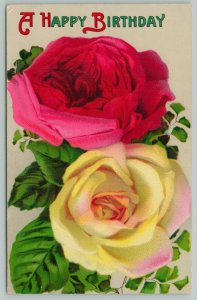 Flowers Greetings~Happy Birthday~Yellow and Red Rose~c1910 Postcard