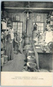Vintage CHICAGO HISTORICAL SOCIETY Museum Postcard Typical Early Grocery Store