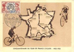 Tour postal marking on front 1953 Cinquantenaire Tour De France 1953