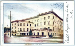 Portland, Oregon Postcard CITY HALL Building, Street View w/ 1906 ORE. Cancel