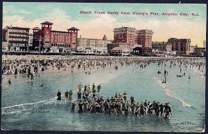 Beach @Youngs Pier Atlantic City New Jersey unused c1910's