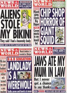 News Of The World Landlady Is Werewolf UFO Fish & Chips 5x Advertising Postcard