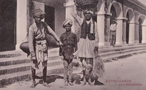 Water Carrier and Sweepers Umballa Indian Antique Postcard