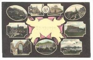 9-view postcard, Edinburgh, UK, PU-1914