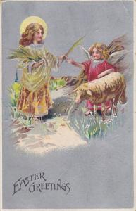 Easter Greetings Young Angel With Sheep 1909