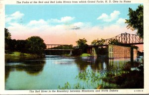 North Dakota Grand Forks Forks Of The Red and Red Lake Rivers 1946 Curteich