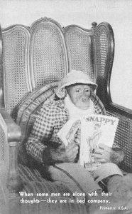 Dressed Monkey Reading Snappy Magazine Chimpanzee Funny Vintage Postcard