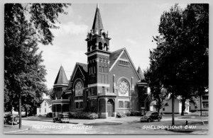 Sheldon IA~Corner Tower & Stained Glass Rose Windows~Methodist Church RPPC c1950