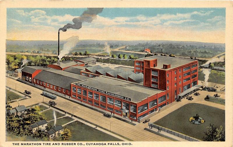 F27/ Cuyahoga Falls Ohio Postcard Marathon Tire & Rubber Factory c1910