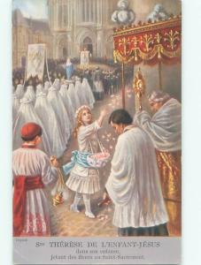 foreign Old Postcard GIRL SCATTERS ROSE PETAL FLOWERS AT CATHOLIC CHURCH AC2798