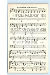 Vintage Religious Musical Postcard Everlasting Love Constancy Lord's Prayer C16