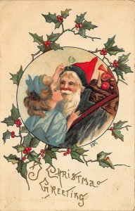 Christmas Greetings Green Suit Santa Claus Girl Giving A Kiss Embossed Postcard