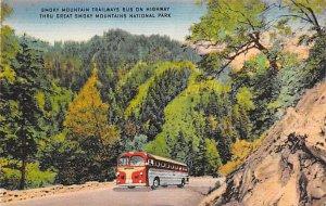 Smokey Mountain Trailways bus on Highway through great Smoky Mountains Nation...