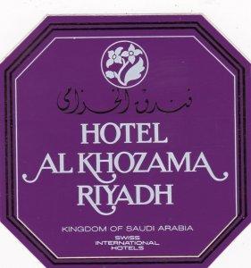 Saudi Arabia Riyadh Hotel Al Khozama Vintage Luggage Label sk2167