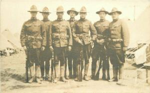 C-1918 Military Soldiers Company D Tents Rifles RPPC Photo Postcard 4305
