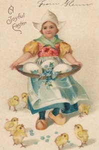 A Joyful EASTER, 1900-10s; Dutch girl with basket of eggs, Chicks at her feet