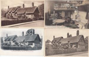 Anne Hathaways Cottage incl Kitchen 4x Old Postcard s