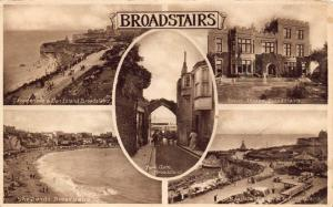 Vintage 1937 Sepia Postcard BROADSTAIRS Multiview KENT by Ward's