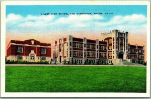 1940s Macon, Georgia Postcard MILLER HIGH SCHOOL & GYMNASIUM Kropp Linen