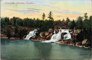 High Falls Muskoka Ontario ON c1910 Antique Postcard D45