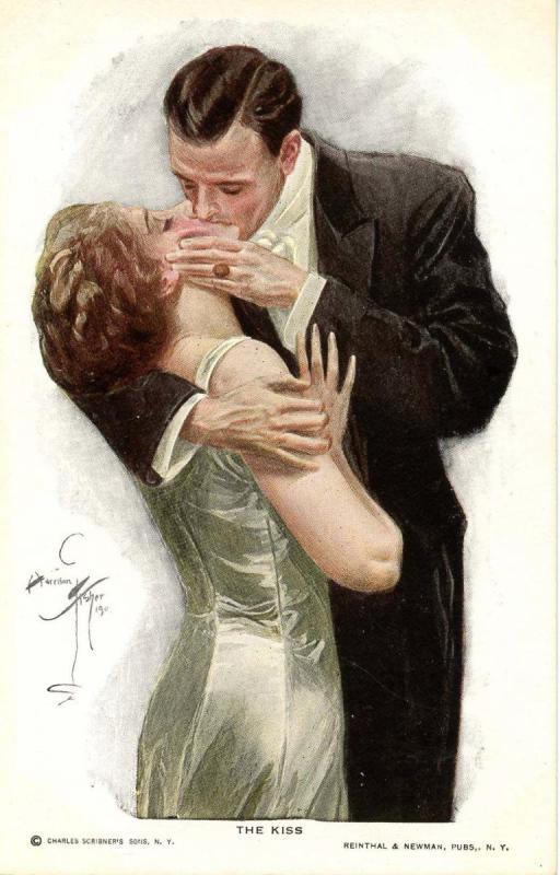 The Kiss - Artist Signed: Harrison Fisher