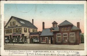 Somersworth NH B&M RR Train Station c1905 Copper Windows Postcard