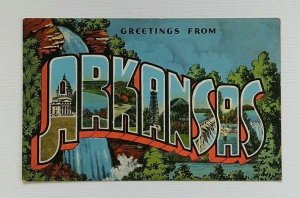 Large Letter Greeting From Arkansas Linen Postcard Natural Color EC Kropp