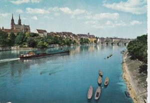 Switzerland, Suisse, BASEL, River Rhine and cathedral, 1965 used Postcard