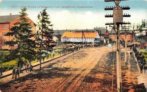 Bremerton Washington~Main Street @ Navy Yard~People Walk on Sidewalk~c1910 Pc
