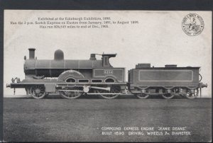 Railway Transport Postcard - Compound Express Engine Jeanie Deans - Exhibit...