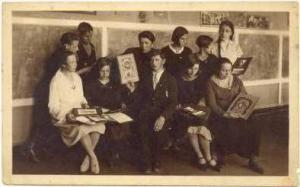 RP  Students in Classroom show awards, Latvia, 1910s-20s