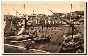 Menton Old Postcard The port and dock
