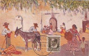 M. Bertuchi. In the Andalucian farmhouse  Vintage Spanish postcard