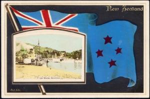 new zealand, QUEENSTOWN, Lake Wakatipu, Flag 1920s RPPC