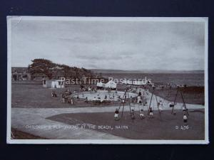 Scotland NAIRN Children's Playground at the Beach shows TEA CAFE c1955 Postcard