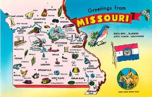 Greetings from Missouri MO Pink State Map Chrome Postcard