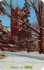 East Lansing Michigan~Michigan State University~Beaumont Tower in Winter~1960s