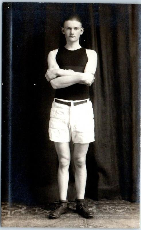 Vintage RPPC STUDIO Real Photo Postcard Athlete Basketball Player Uniform 1910s
