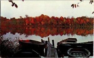 Postcard Cold Spring Harbor Boats Dock Lake Fall Colors  Long Island New York