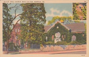 Virginia Norfolk Old Saint Paul Church Built In 1739