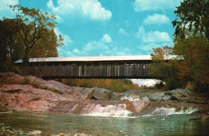 Covered Bridge at Swiftwater, New Hampshire, NH, Chrome Vintage Postcard g8513