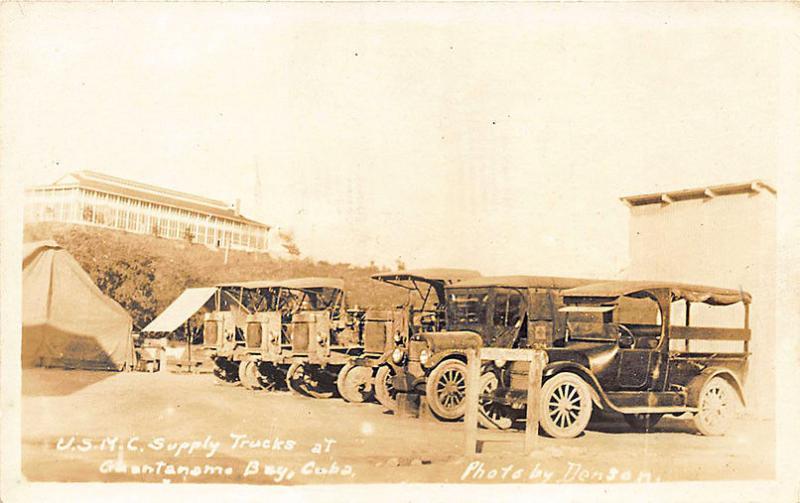 Guantanamo Bay Cuba U. S Marine Supply Trucks Signed Denson Postcard