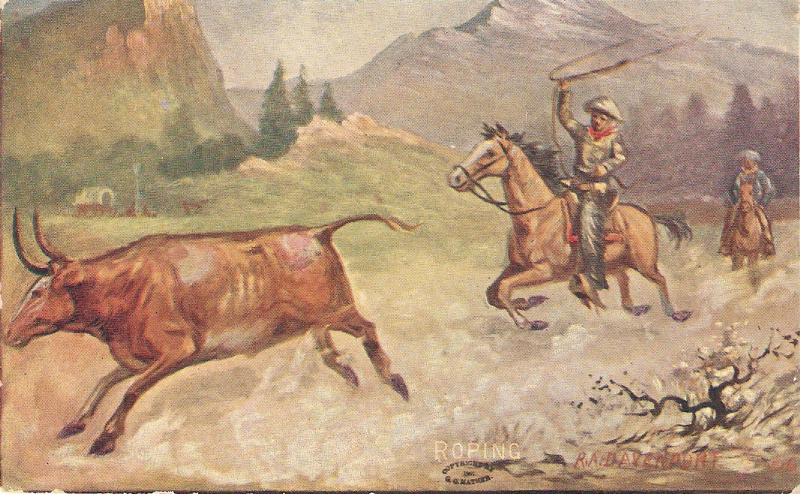 R.A.Devenport. Cowboy. Roping Nice American postcard 1930s