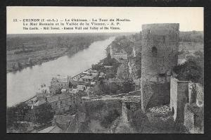 Castle Mill Tower Roman Wall Chinon France Unused c1920s
