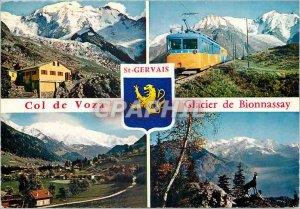Postcard Modern Voza Col de Bionnassay Glacier Chalet Nid d'Aigle Train